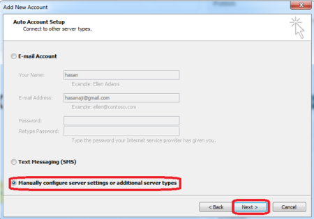 setting gmail outlook